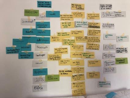 Viele beschriebene Moderations-Karten, die an eine Wand gepinnt sind.