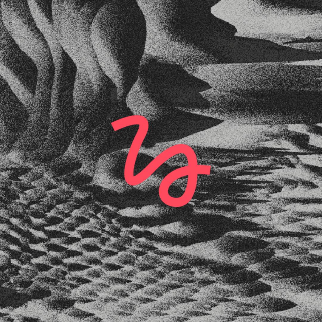 Ein abstraktes Bild in schwarz/weiß. In der Bildmitte eine rote verschnörkelte Linie.